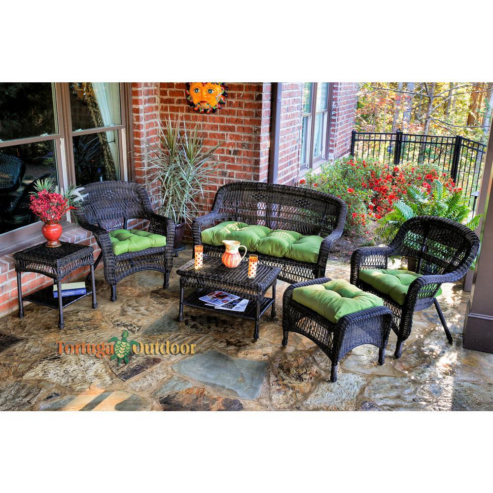 Portside Dark Roast 6-Piece Wicker Patio Seating Set with Husk Hunter Cushions