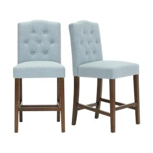 Beckridge Walnut Wood Upholstered Counter Stool with Tufted Back Light Blue Seat (Set of 2) (18.11 in. W x 39.96 in. H)