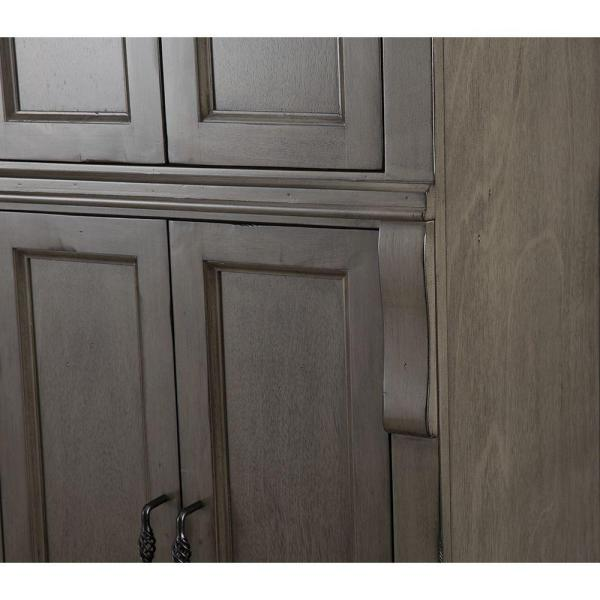 Home Decorators Collection Naples 24 In W X 74 In H X 17 In D Bathroom Linen Cabinet In Distressed Grey Nadgl2474 The Home Depot