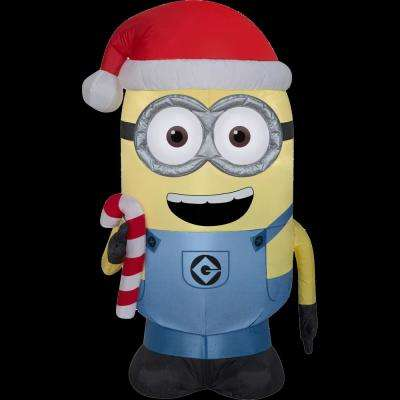 2 Ft W X 1 5 D 3 H Inflatable Minion Dave With Candy Cane