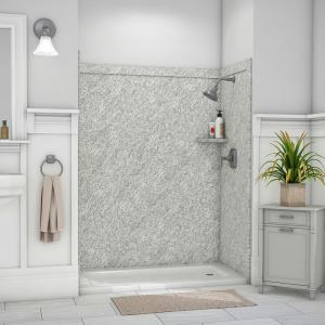Royale 36 in. x 60 in. x 80 in. 11-Piece Easy Up Adhesive Alcove Bathtub/Shower Wall Surround in Arctic Haze
