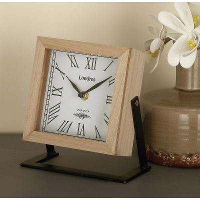 New Traditional 7 in. x 7 in. Brown Square Wood and Metal Clock