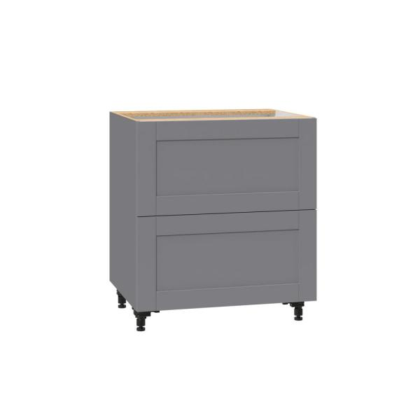 J Collection Shaker Assembled 30 In X 34 5 In X 24 In 2 Drawer Base Cabinet With Metal Drawer Boxes In Gray B2d30 Gs The Home Depot