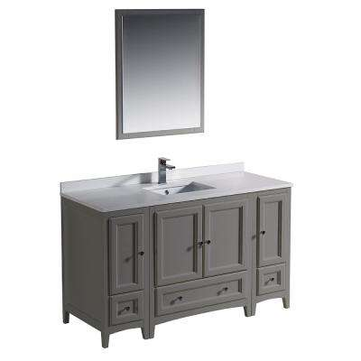 Oxford 54 in. Traditional Bathroom Vanity in Gray with Quartz Stone Vanity Top in White with White Basin and Mirror