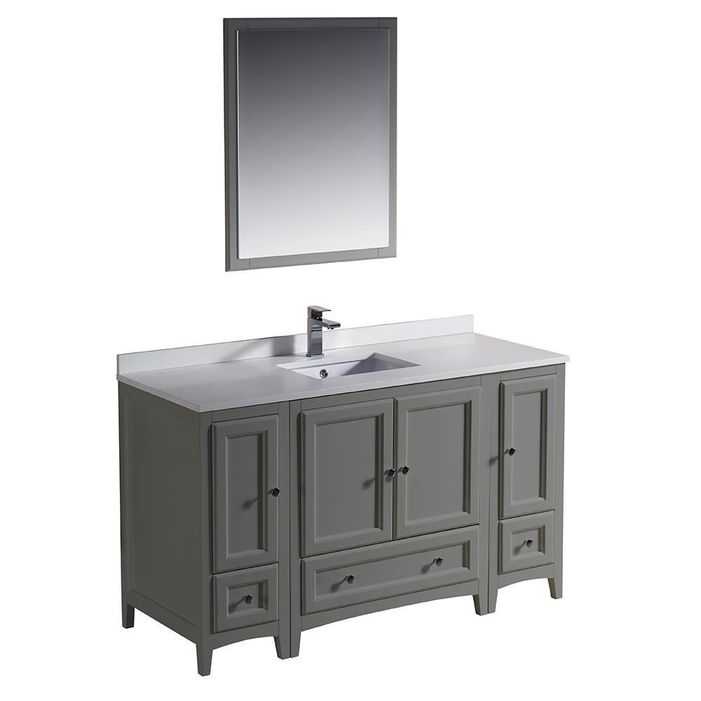 Oxford 54 in. Traditional Bathroom Vanity in Gray with Quartz Stone