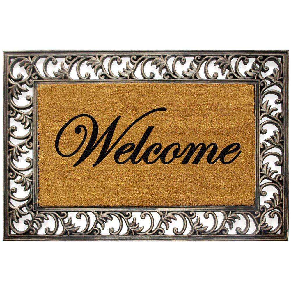 TrafficMASTER Printed Scroll 19.5 in. x 29.5 in. Rubber and Coir Door Mat