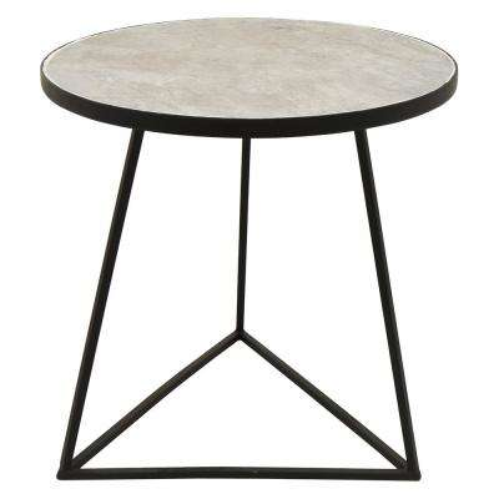 17 in. x 17 in. Black Metal Side Table