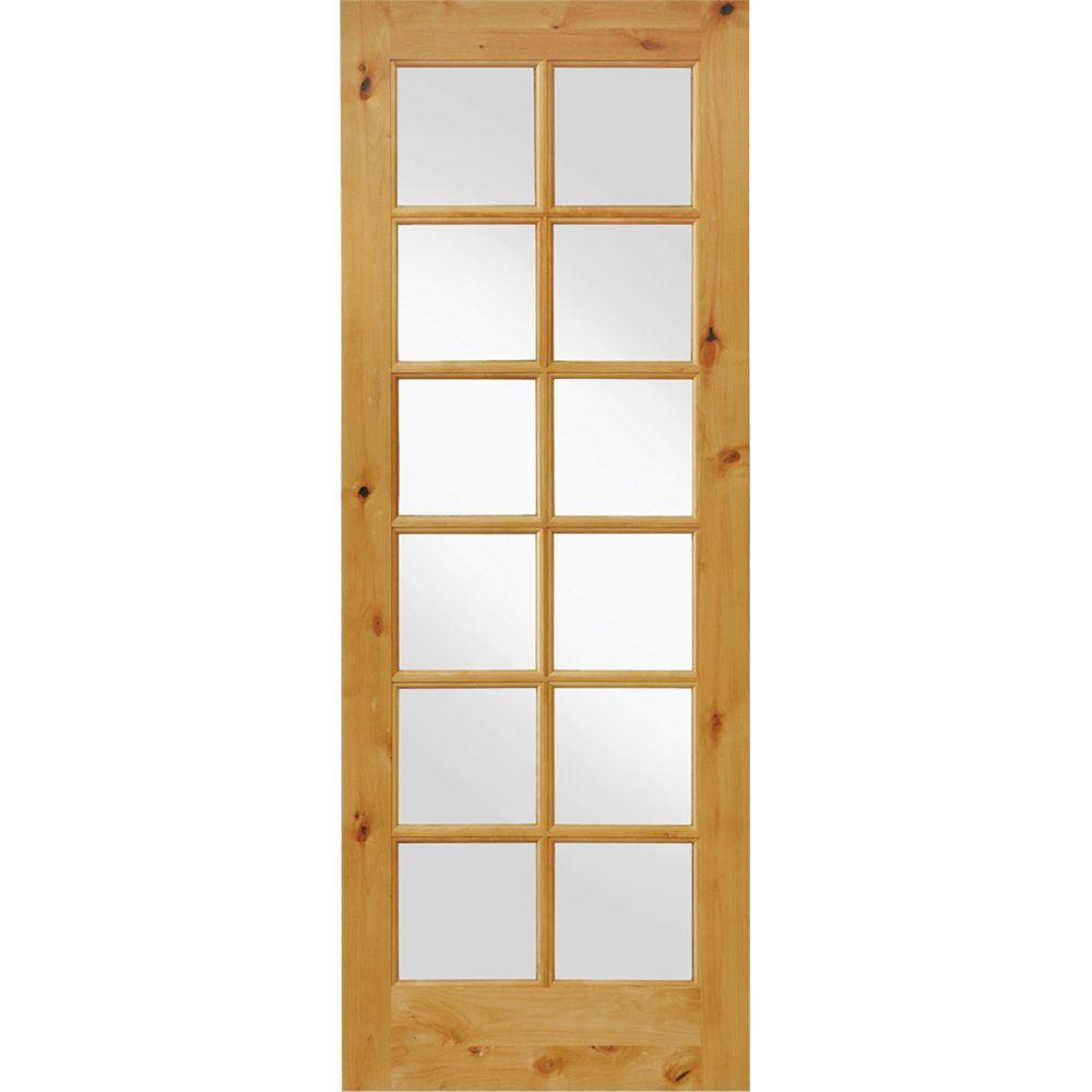 Krosswood Doors 36 in. x 96 in. Knotty Alder 12-Lite Low-E Insulated Clear Glass Solid Left-Hand Wood Single Prehung Interior Door