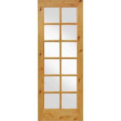 36 in. x 96 in. Knotty Alder 12-Lite Low-E Insulated Clear Glass Solid Left-Hand Wood Single Prehung Interior Door