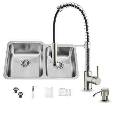 All-in-One Undermount Stainless Steel 32 in. Double Bowl Kitchen Sink in Stainless Steel