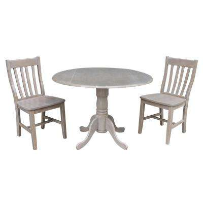 3-Piece 42 in. Weathered Taupe Gray Drop-leaf Table and Cafe Chair Set