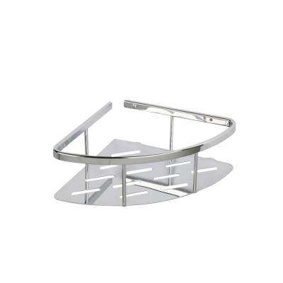 Aluminum 3 in. H x 10.75 in. W x 7.5 in. D Solid Corner Basket in Chrome