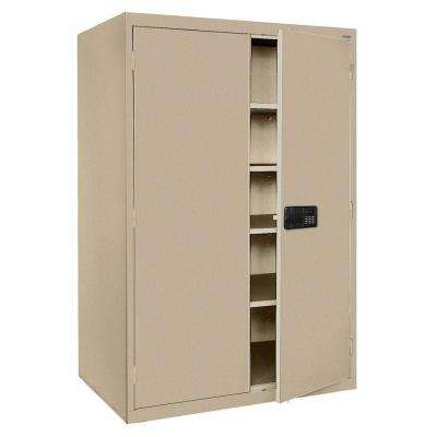 Elite Series 78 in. H x 46 in. W x 24 in. D 5-Shelf Steel Keyless Electronic Handle Storage Cabinet in Tropic Sand