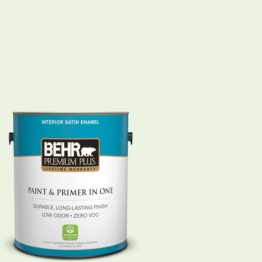 1-gal. #430A-1 Mint Hint Zero VOC Satin Enamel Interior Paint