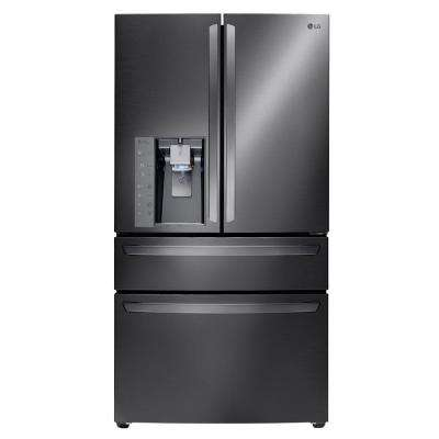 22.7 cu. ft. 4 Door French Door Refrigerator in Black Stainless Steel, Counter Depth
