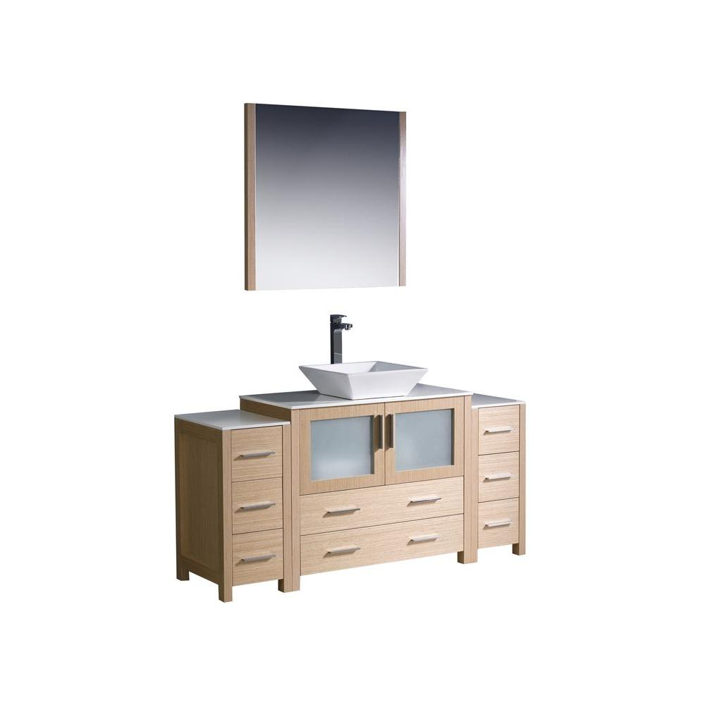 Fresca Torino 60 in. Vanity in Light Oak with Glass Stone Vanity Top in White with White Basin and Mirror