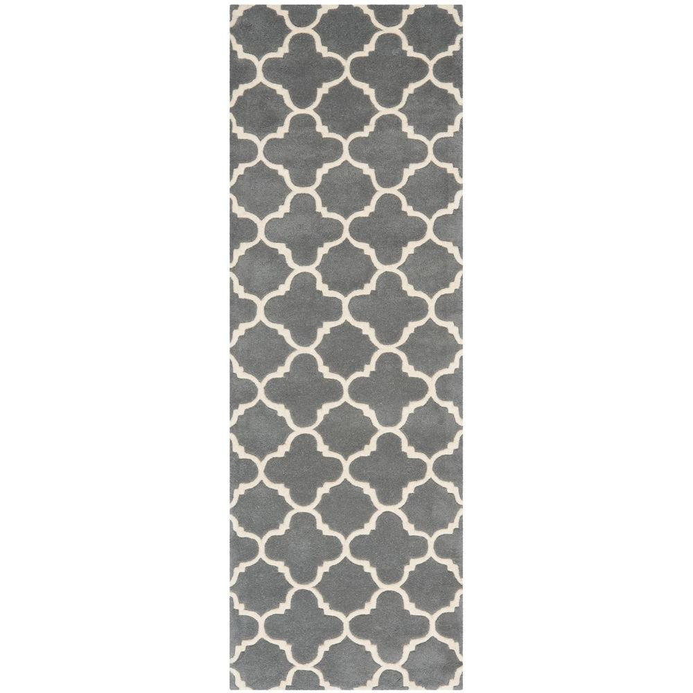 Safavieh Chatham Dark Grey/Ivory 2 ft. 3 in. x 9 ft. Runner