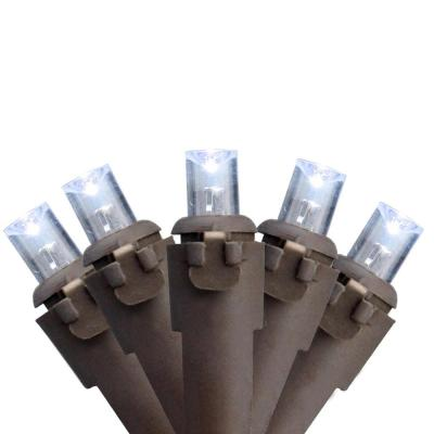 Set of 50 Pure White LED Wide Angle Christmas Lights - Brown Wire