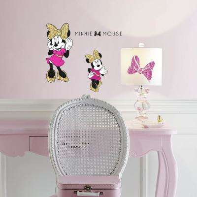 5 in. x 11.5 in. 4-Piece Minnie Mouse Peel and Stick Wall Decals with Glitter