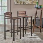 Noble House Lilith 30 in. Dark Brown Acacia Wood Bar Stools with Rustic Metal Frames (Set of 2)