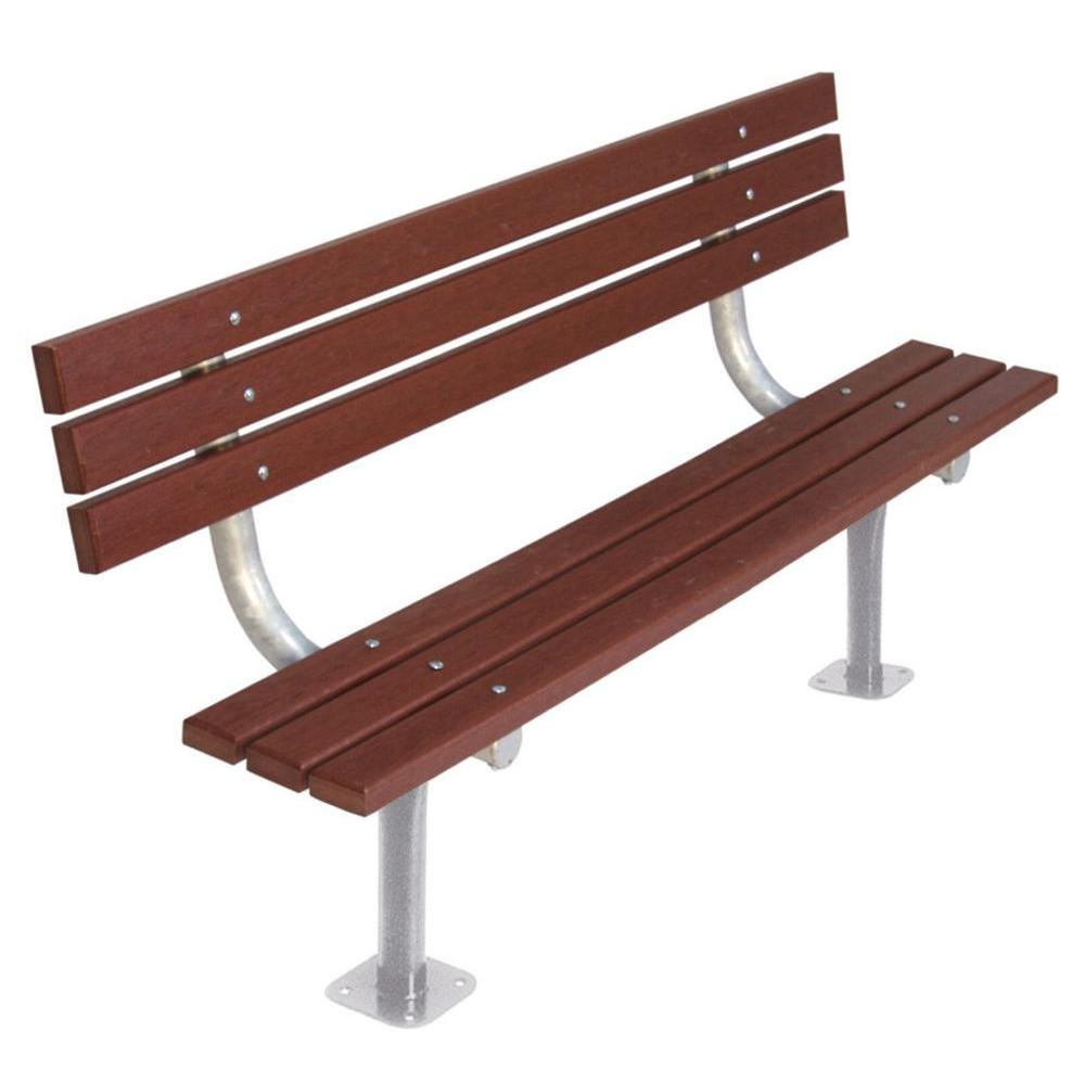 6 ft. Brown Commercial Park Recycled Plastic Bench with Back Surface