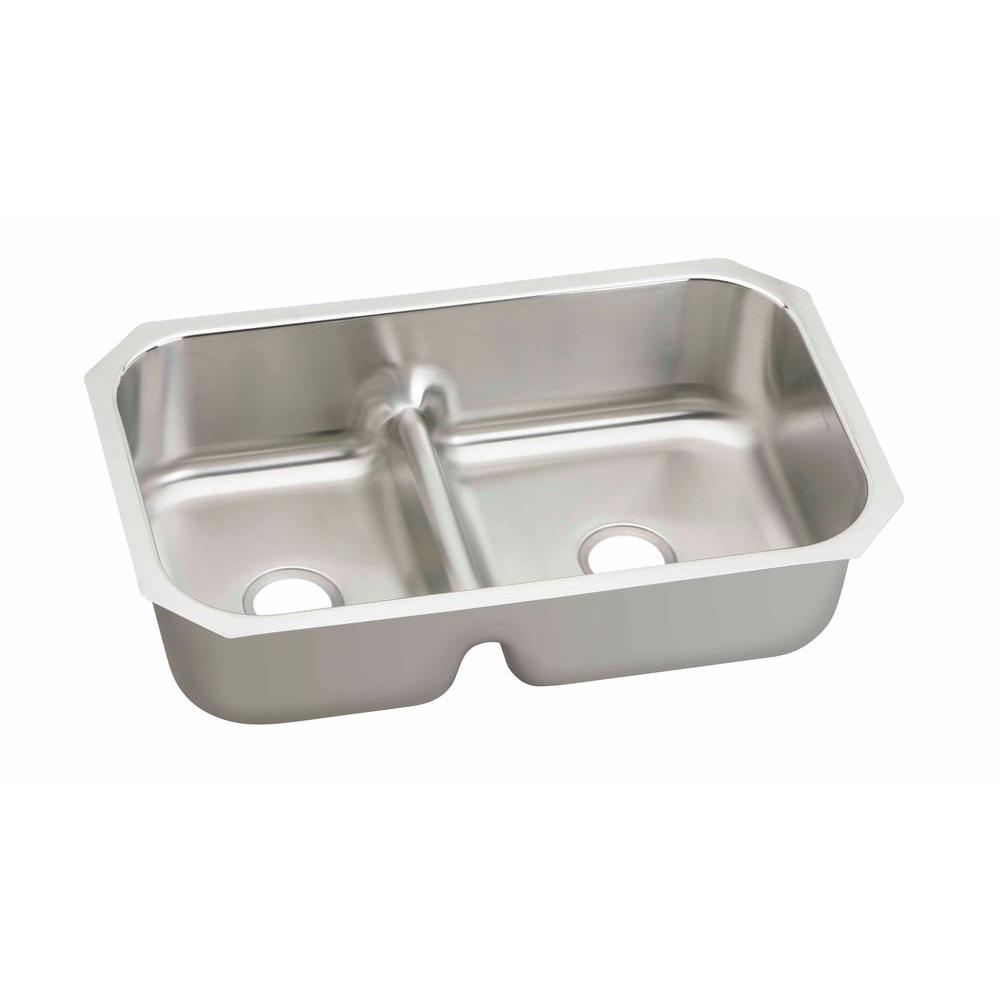Elkay Kitchen Sinks: Elkay Lustertone Undermount Stainless Steel 35 In. Double