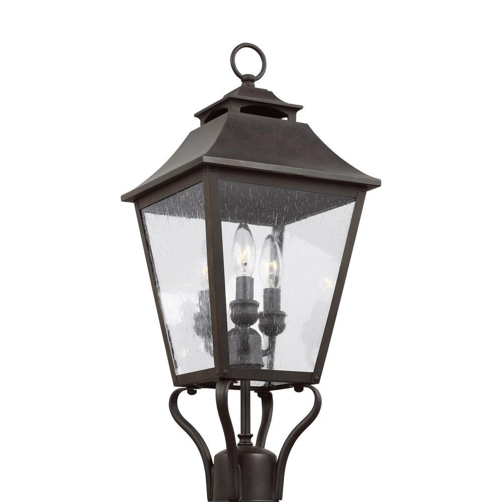 Galena 3-Light Outdoor Sable Post Light