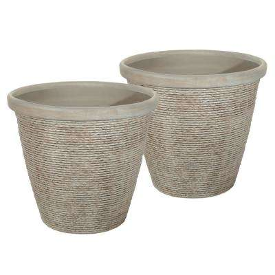 Chariton 16 in. Dia Taupe Resin Planter (2-Pack)