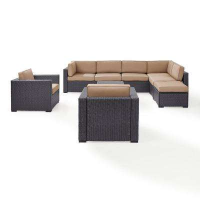 Biscayne 8-Person Wicker Outdoor Seating Set with Mocha Cushions