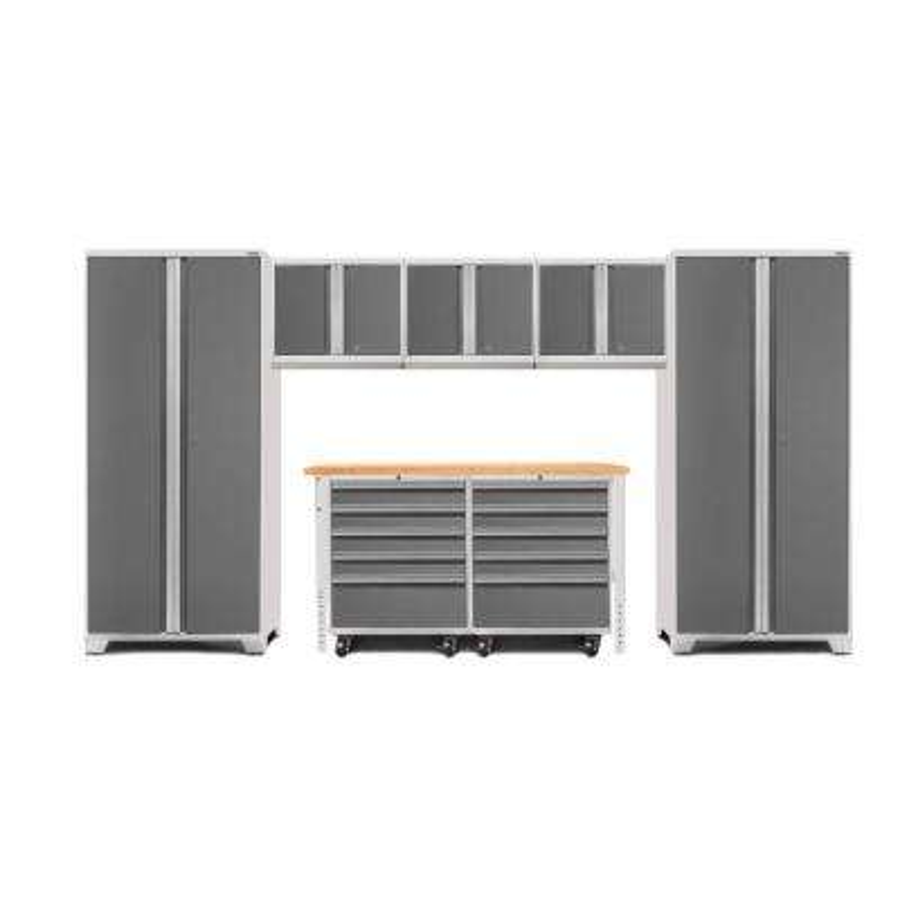 Pro 3.0 85 in. H x 156 in. W x 24 in. D 18-Gauge Welded Steel Bamboo Worktop Cabinet Set in Platinum (8-Piece)