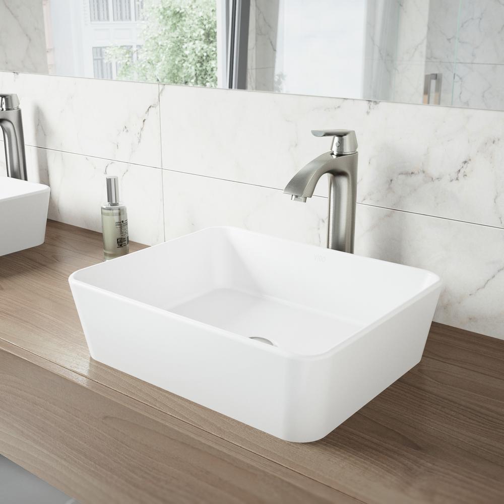 VIGO Marigold Matte Stone Vessel Sink and Linus Bathroom Vessel ...