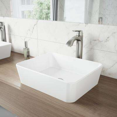 Marigold White Matte Stone Vessel Bathroom Sink and Linus Bathroom Vessel Faucet in Brushed Nickel
