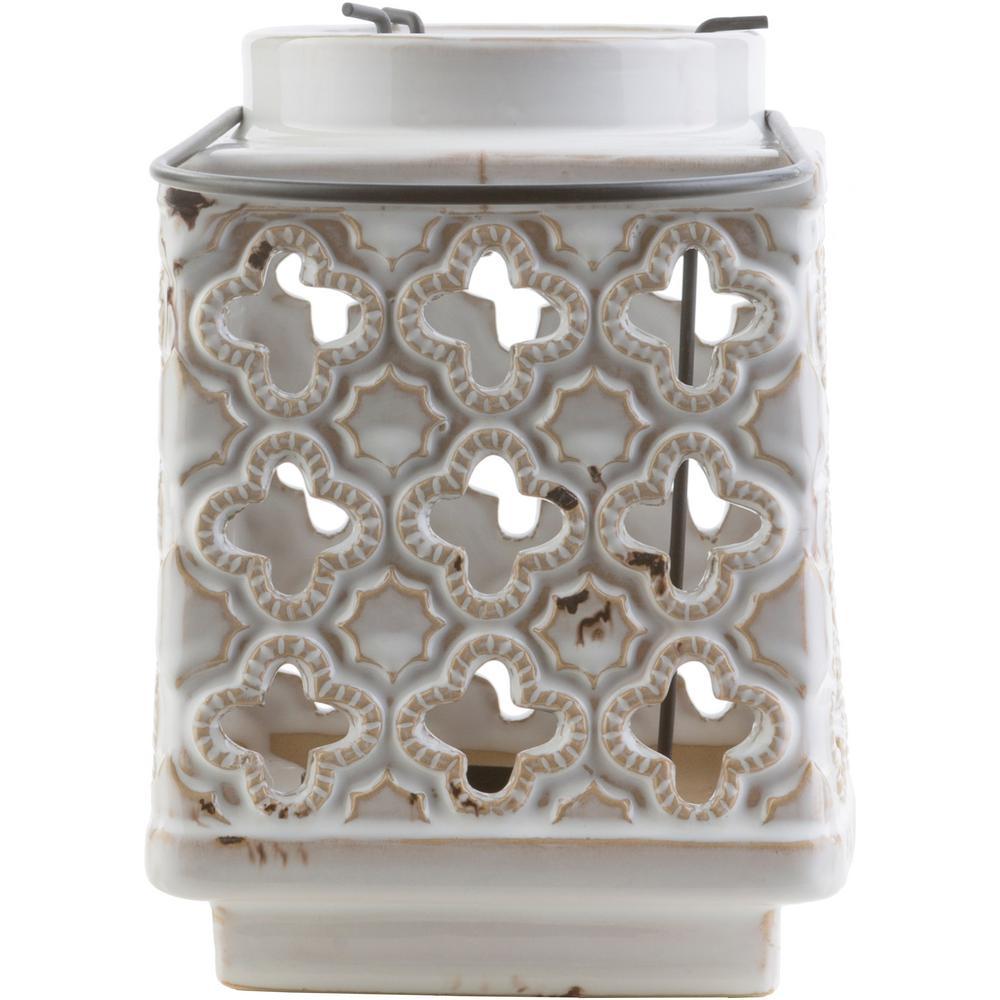 Obadiah 7.5 in. White Ceramic Lantern