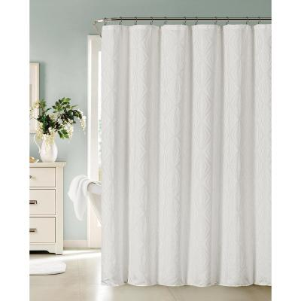 Romance 72 in. White Shower Curtain
