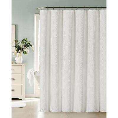 Romance 72 in. White Shower Curtain