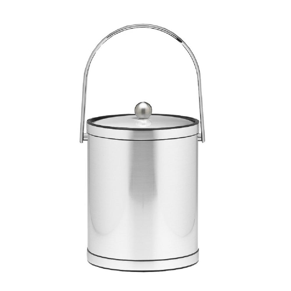 Mylar 5 Qt. Brushed Chrome Ice Bucket with Track Handle and