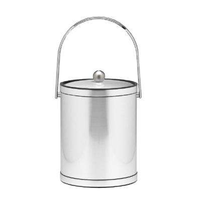 Mylar 5 Qt. Brushed Chrome Ice Bucket with Track Handle and Metal Lid