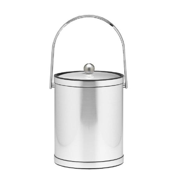 Kraftware Mylar 5 Qt. Brushed Chrome Ice Bucket with Track Handle