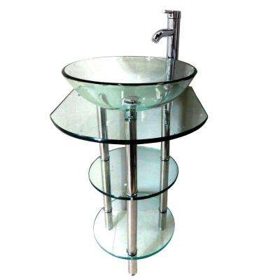 Pedestal Combo Bathroom Sink in Clear