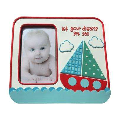 Ahoy! Nautical Theme with Sailboat 3.23 in. x 5.2 in. Multi-Colored Standing Picture Frame