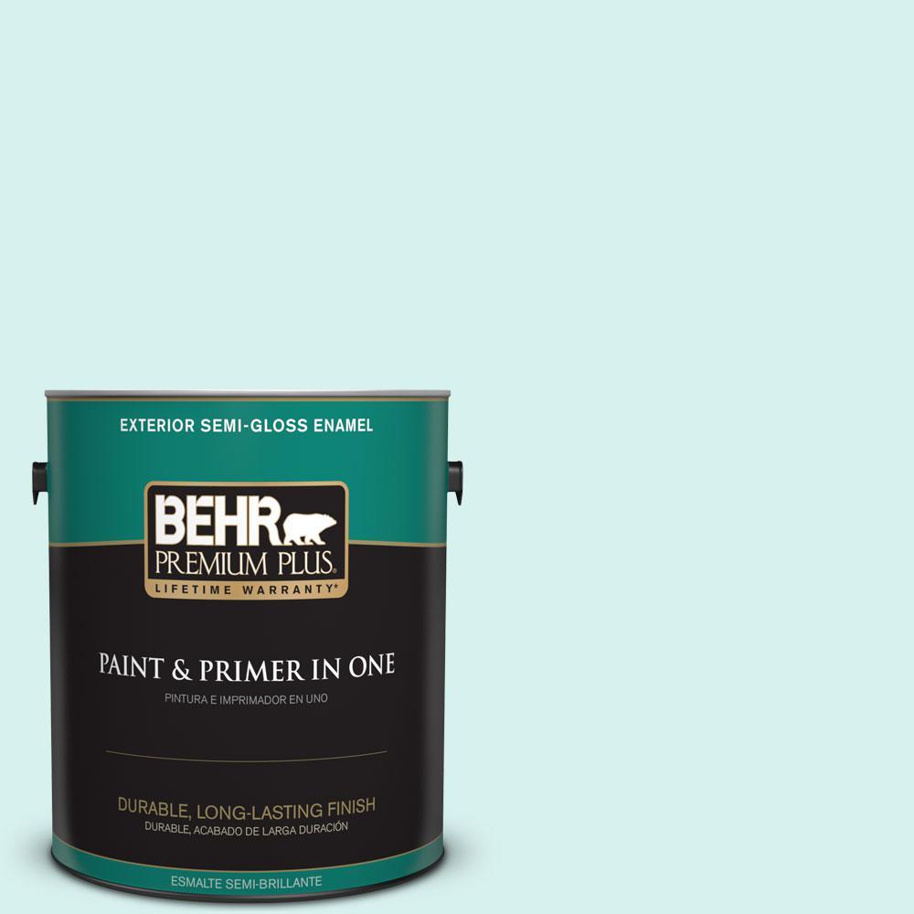BEHR Premium Plus 1-gal. #P450-1 Sea Ice Semi-Gloss Enamel Exterior Paint
