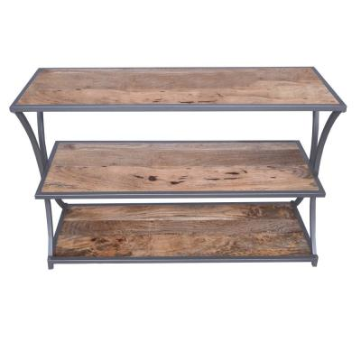 Brown and Gray Metal Framed Three Tier Console Table with Mango Wood Shelves