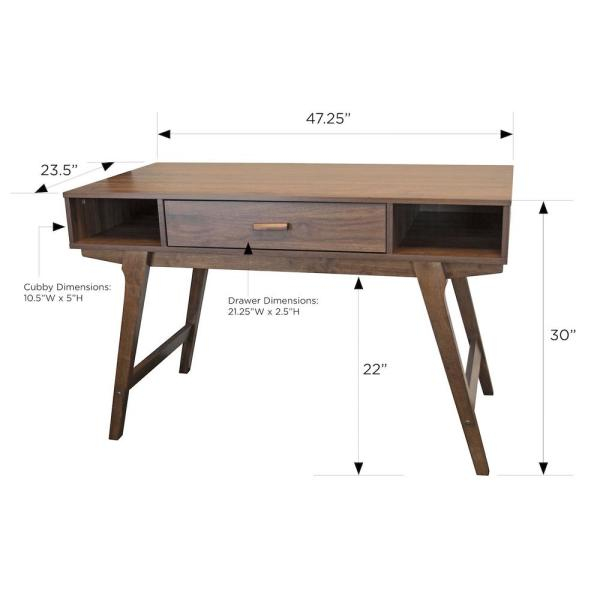 1 Drawer Writing Desk, Solid Wood Office Furniture