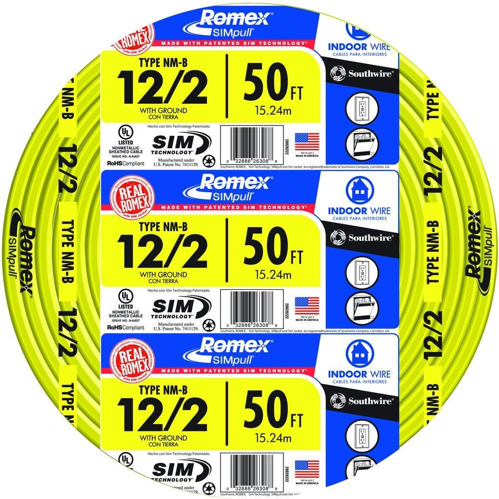 50 ft. 12/2 Solid Romex SIMpull CU NM-B W/G Wire