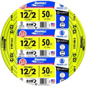 50 ft. 12/2 Solid Romex SIMpull CU NM-B W/G Wire