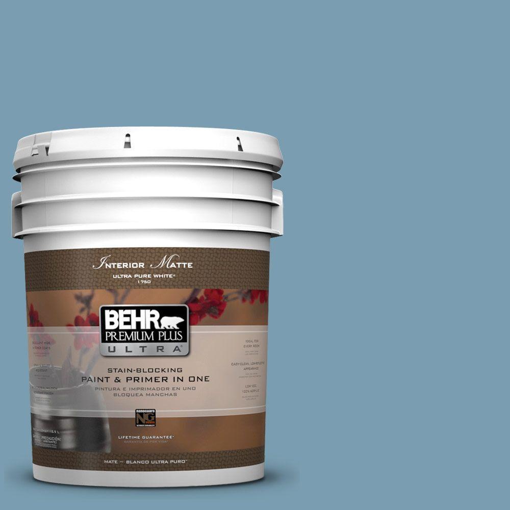 BEHR Premium Plus Ultra 5 gal. #UL230-17 Blue Cascade Matte Interior Paint and Primer in One