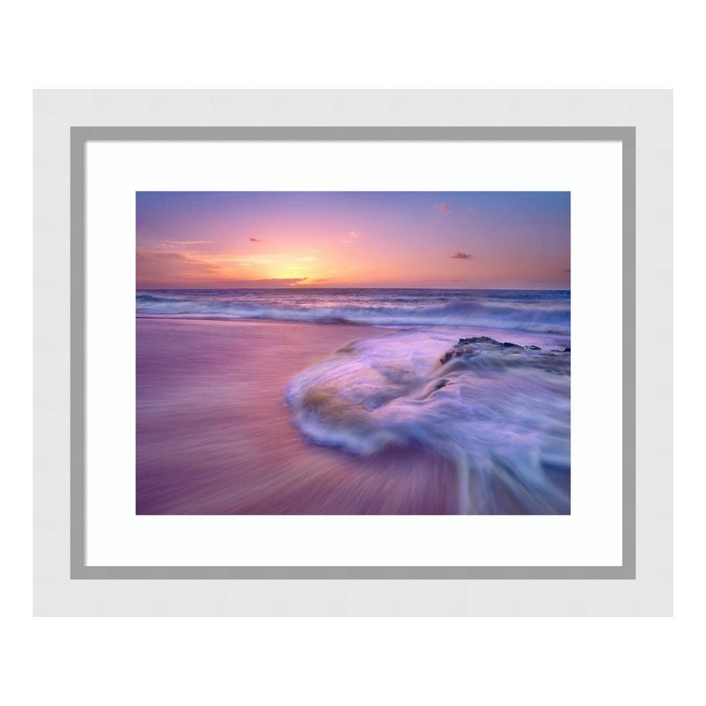 """Sandy beach at sunset, Oahu, Hawaii"" by Tim Fitzharris Framed Wall Art"