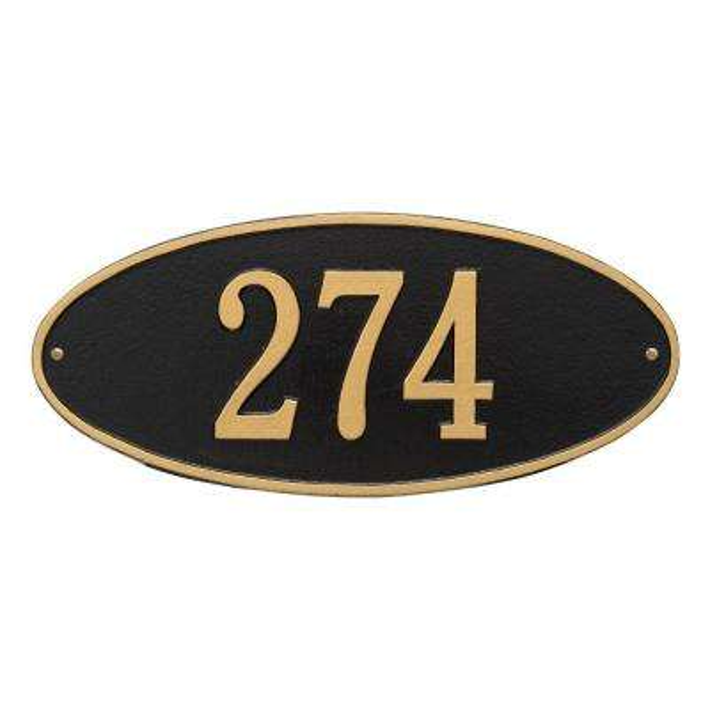 Madison Standard Oval Black/Gold Wall 1-Line Address Plaque