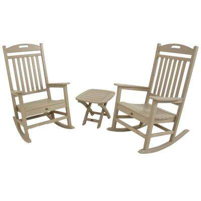 Yacht Club Sand Castle 3-Piece Patio Rocker Set