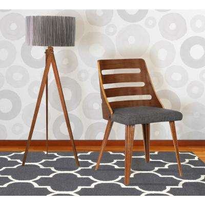Storm 31 in. Charcoal Fabric and Walnut Wood Finish Mid-Century Dining Chair